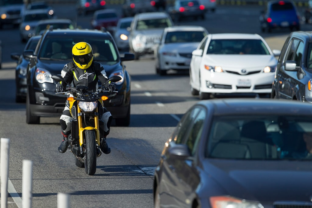 picture of motorcyclist in traffic