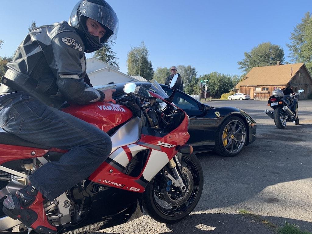 picture of Ferrari and sport bikes