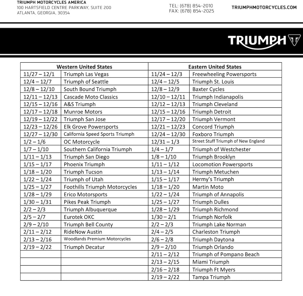 picture of Tour schedule